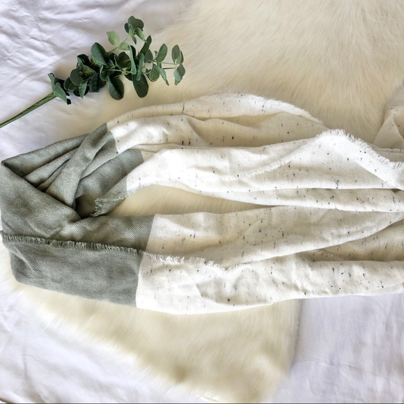 Universal Thread Accessories - Universal Thread Cream and Sage Green Scarf
